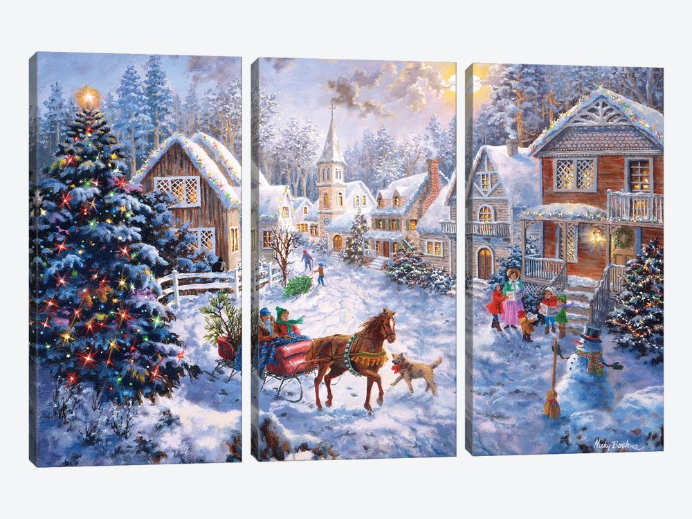 Merry Christmas by Nicky Boehme 3-piece Canvas Art