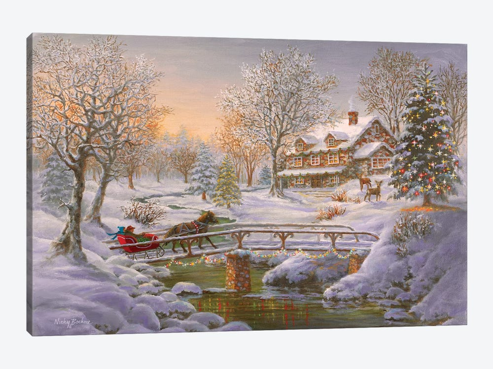 Over The Bridge To Grandma's House by Nicky Boehme 1-piece Canvas Print