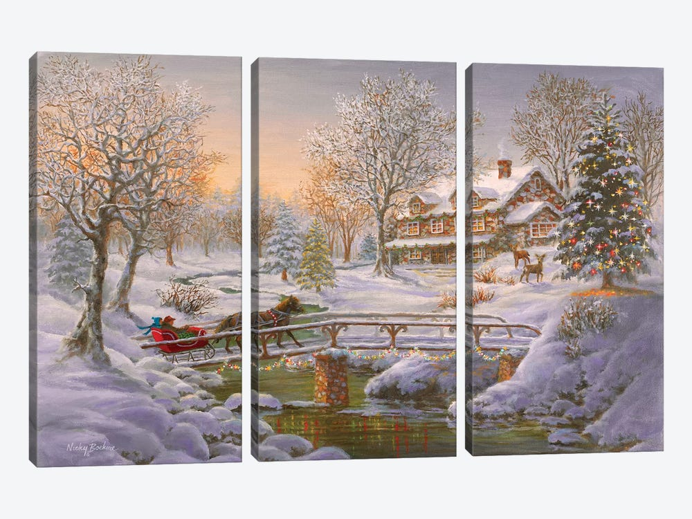 Over The Bridge To Grandma's House by Nicky Boehme 3-piece Canvas Art Print