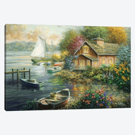 Peaceful Mooring Canvas Print #BOE124} by Nicky Boehme Canvas Art Print