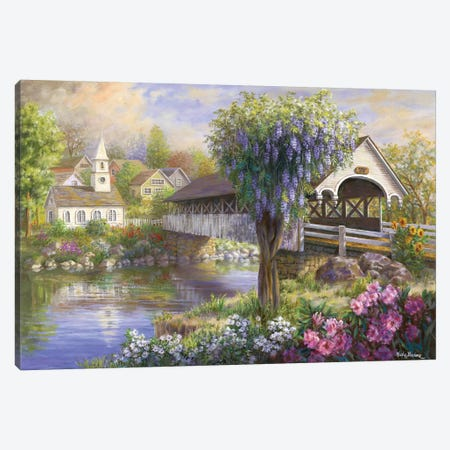 Picturesque Covered Bridge Canvas Print #BOE125} by Nicky Boehme Art Print