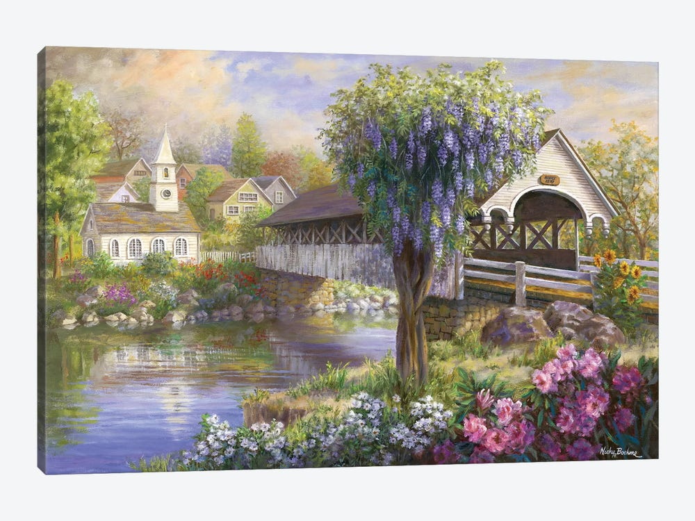 Picturesque Covered Bridge by Nicky Boehme 1-piece Canvas Print