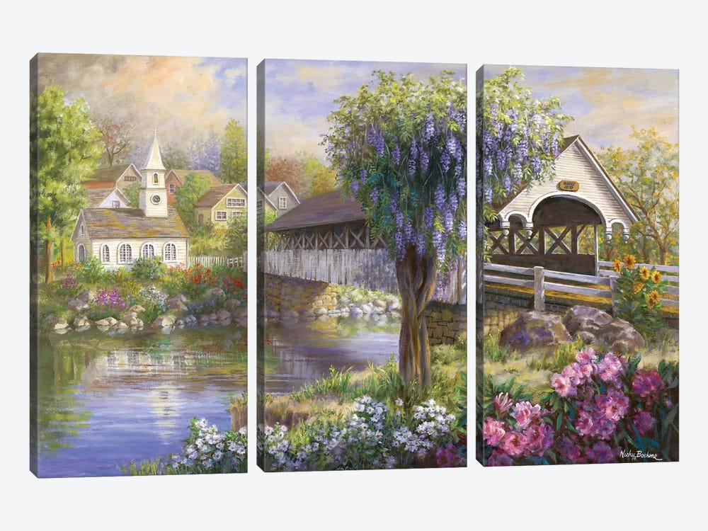 Picturesque Covered Bridge by Nicky Boehme 3-piece Art Print