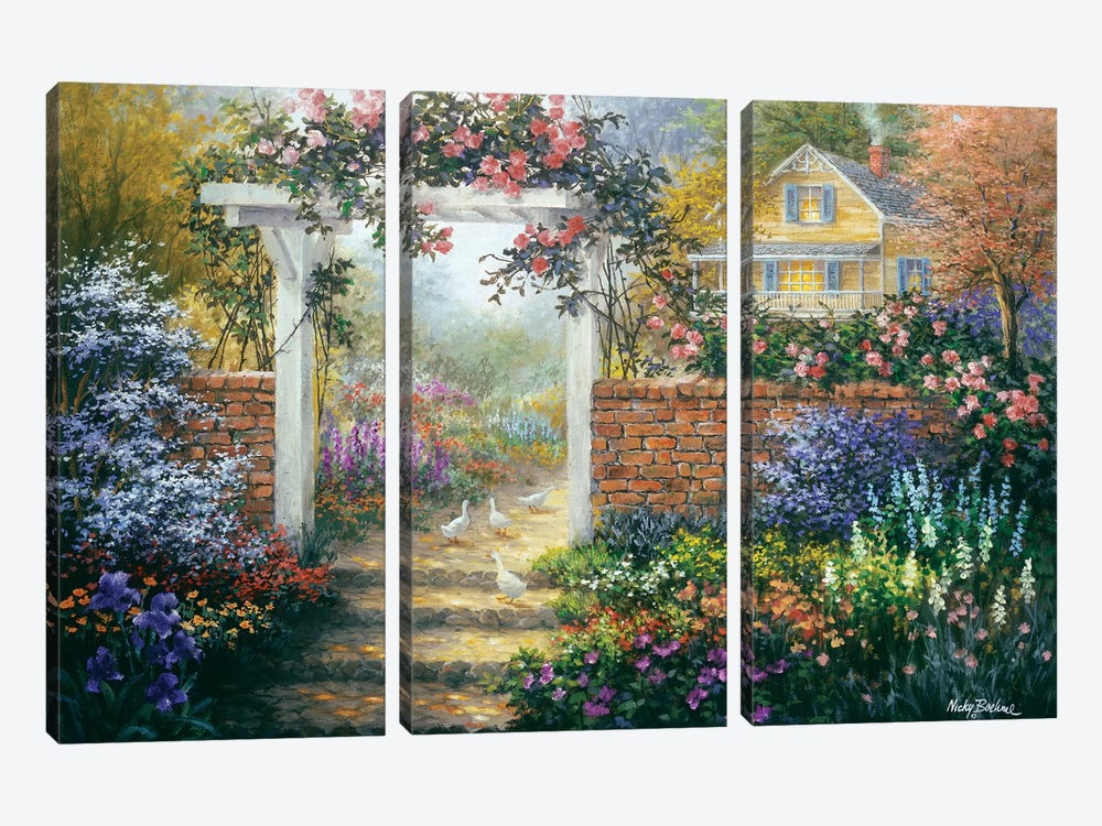 Rose Arbor by Nicky Boehme 3-piece Canvas Wall Art