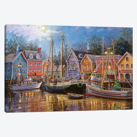Ships Aglow Canvas Print #BOE139} by Nicky Boehme Canvas Art Print