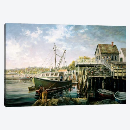 Snug Harbor Canvas Print #BOE141} by Nicky Boehme Canvas Artwork