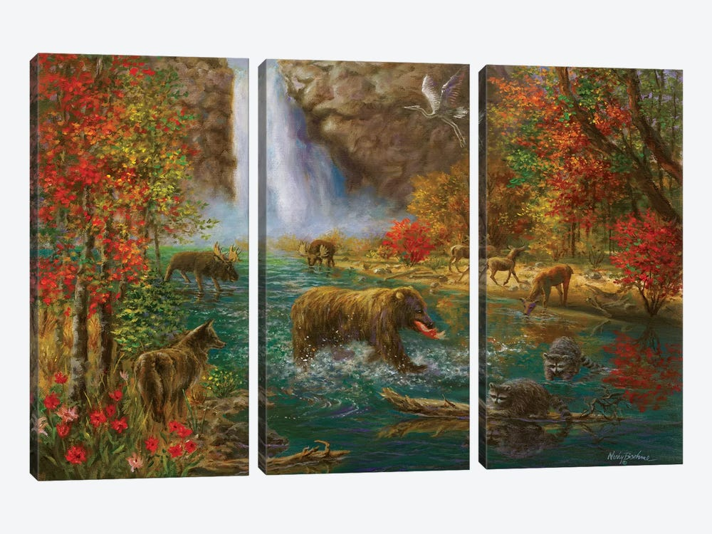Where The Animals Play by Nicky Boehme 3-piece Canvas Wall Art
