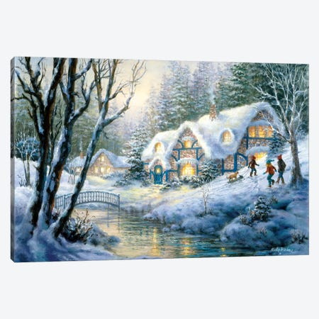 Winter Frolic Canvas Print #BOE167} by Nicky Boehme Canvas Print
