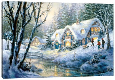 Winter Frolic Canvas Art Print