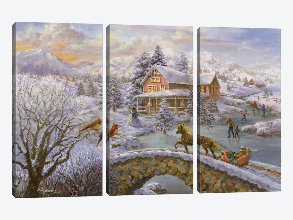 Winter Joy by Nicky Boehme 3-piece Canvas Art