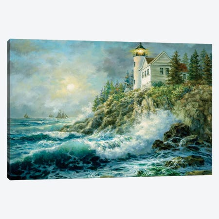 Bass Harbor Lighthouse Canvas Print #BOE16} by Nicky Boehme Canvas Artwork