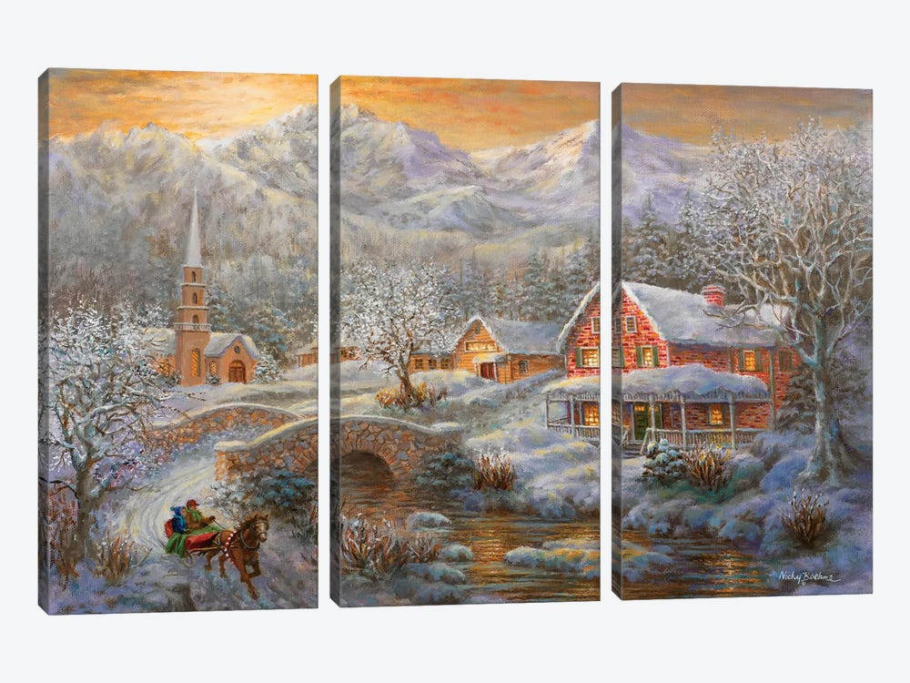 Winter Merriment by Nicky Boehme 3-piece Canvas Art Print