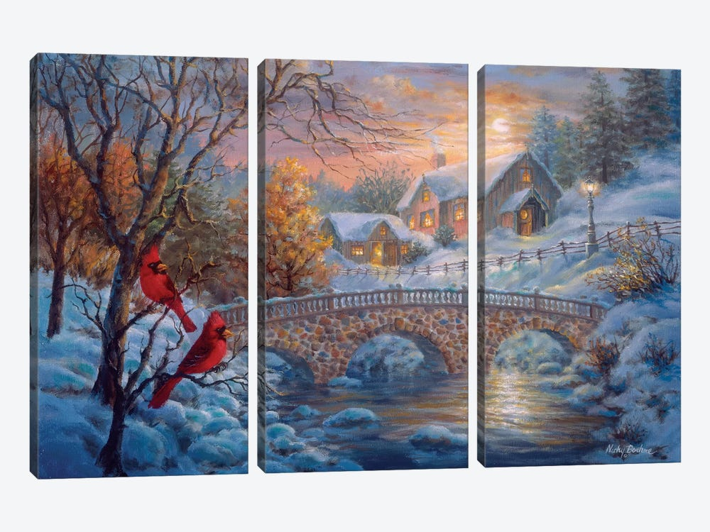 Winter Sunset by Nicky Boehme 3-piece Canvas Wall Art