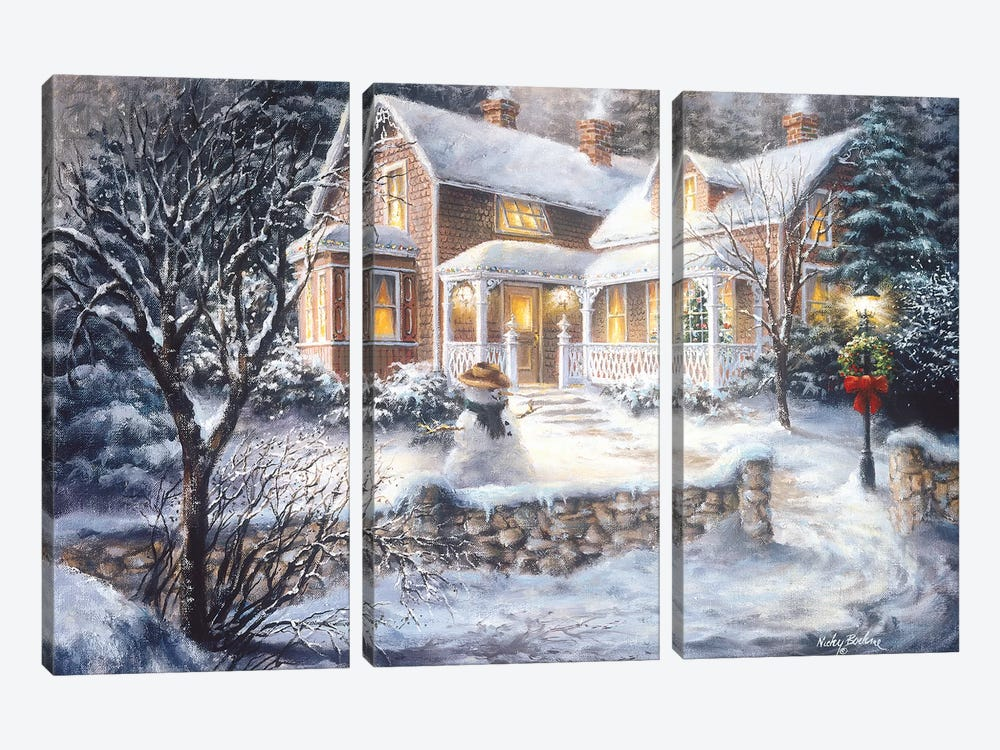 Winter's Welcome by Nicky Boehme 3-piece Canvas Print