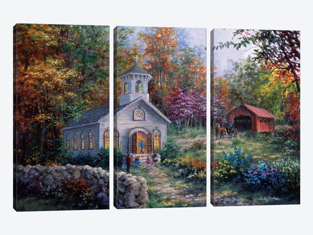 Worship In The Country by Nicky Boehme 3-piece Canvas Art Print
