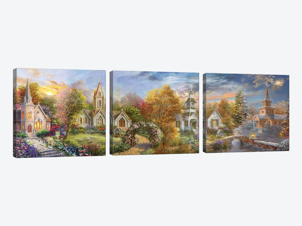 A Church For All Seasons by Nicky Boehme 3-piece Canvas Print