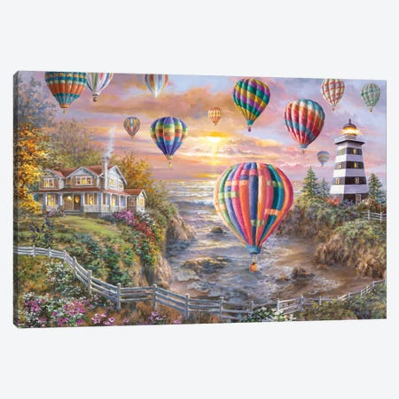 Balloons Over Cottage Cove Canvas Print #BOE177} by Nicky Boehme Canvas Art