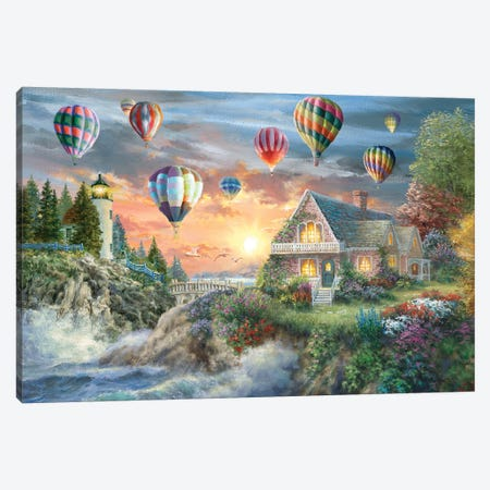 Balloons Over Sunset Cove Canvas Print #BOE178} by Nicky Boehme Canvas Print