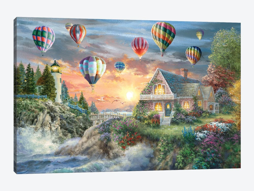 Balloons Over Sunset Cove by Nicky Boehme 1-piece Art Print