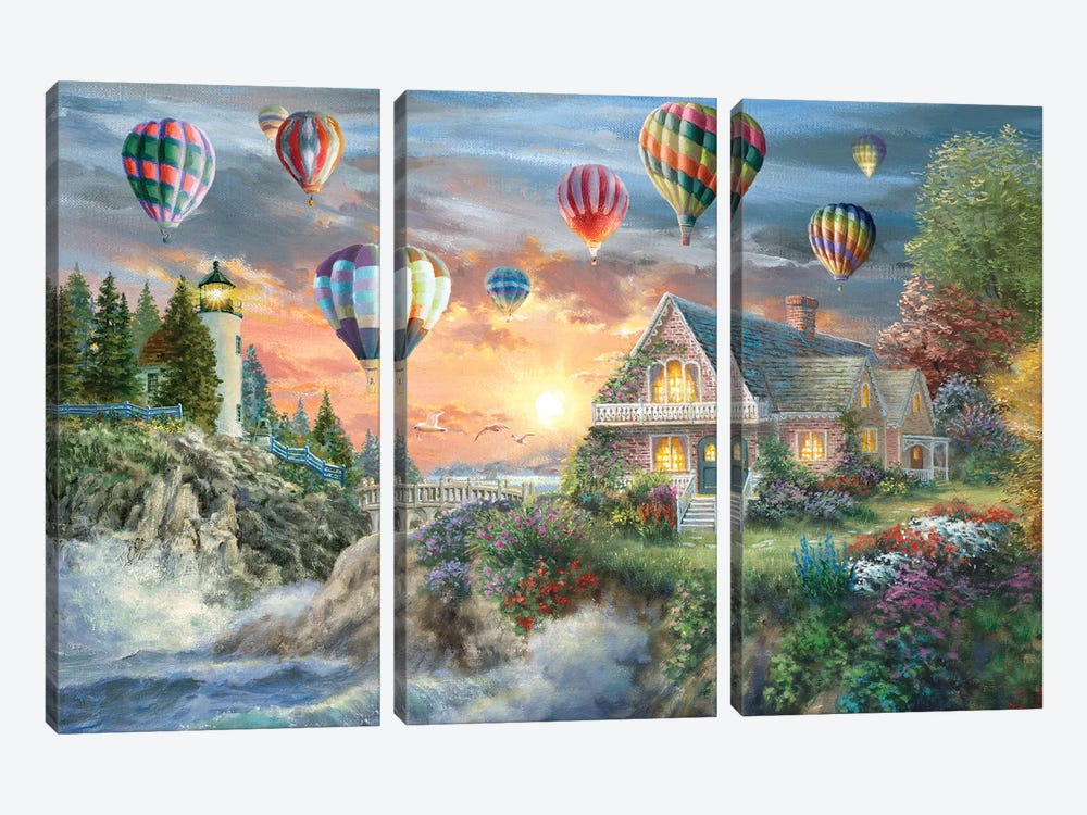 Balloons Over Sunset Cove by Nicky Boehme 3-piece Canvas Art Print
