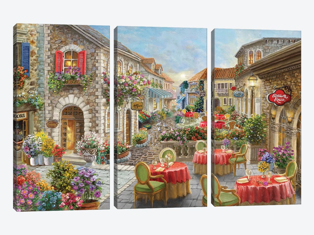 Fiori Caffes by Nicky Boehme 3-piece Canvas Wall Art