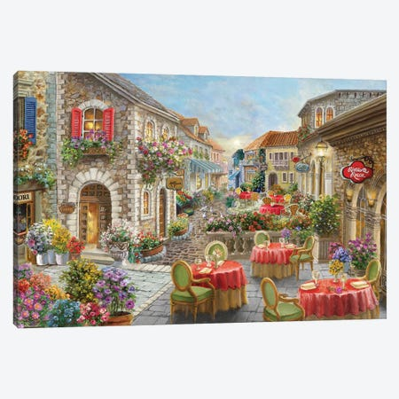 Fiori Caffes Canvas Print #BOE180} by Nicky Boehme Canvas Wall Art