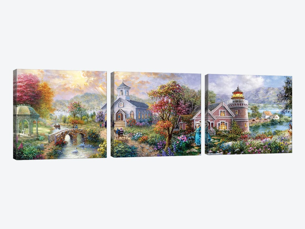Sunday Morning In Spring by Nicky Boehme 3-piece Canvas Art Print