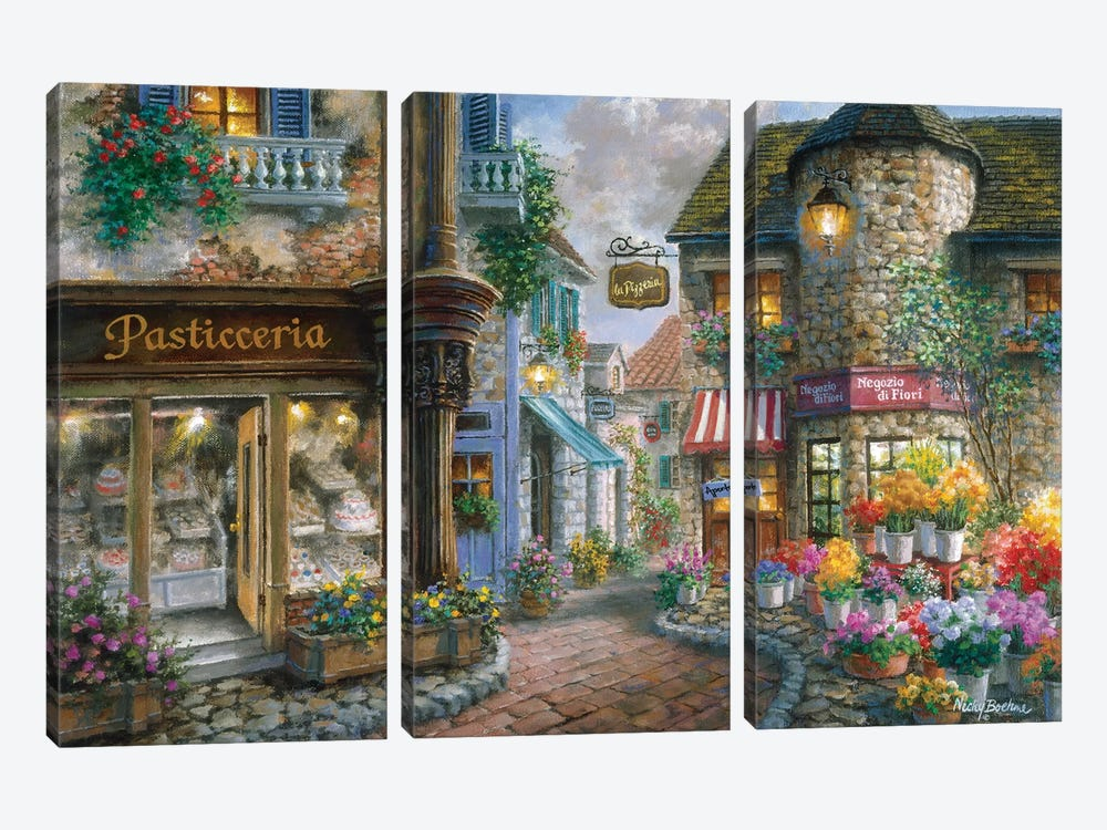 Bello Piazza by Nicky Boehme 3-piece Canvas Art Print