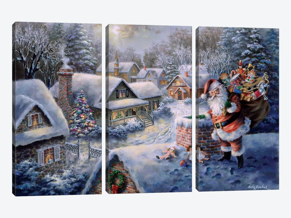 Bringing Joy And Happiness by Nicky Boehme 3-piece Canvas Wall Art