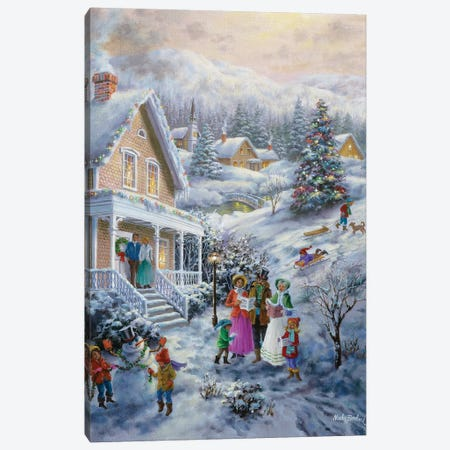 Carolers Canvas Print #BOE25} by Nicky Boehme Canvas Art Print