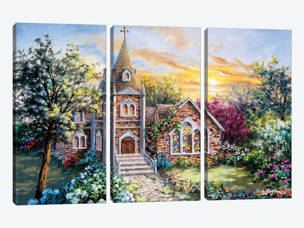 Charming Tranquility II by Nicky Boehme 3-piece Canvas Wall Art