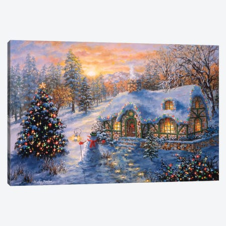 Christmas Cottage I Canvas Print #BOE28} by Nicky Boehme Canvas Art