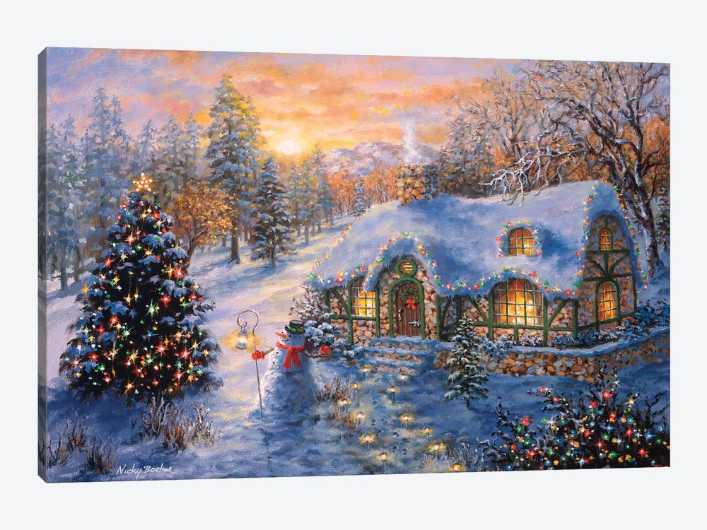 Christmas Cottage I by Nicky Boehme 1-piece Art Print