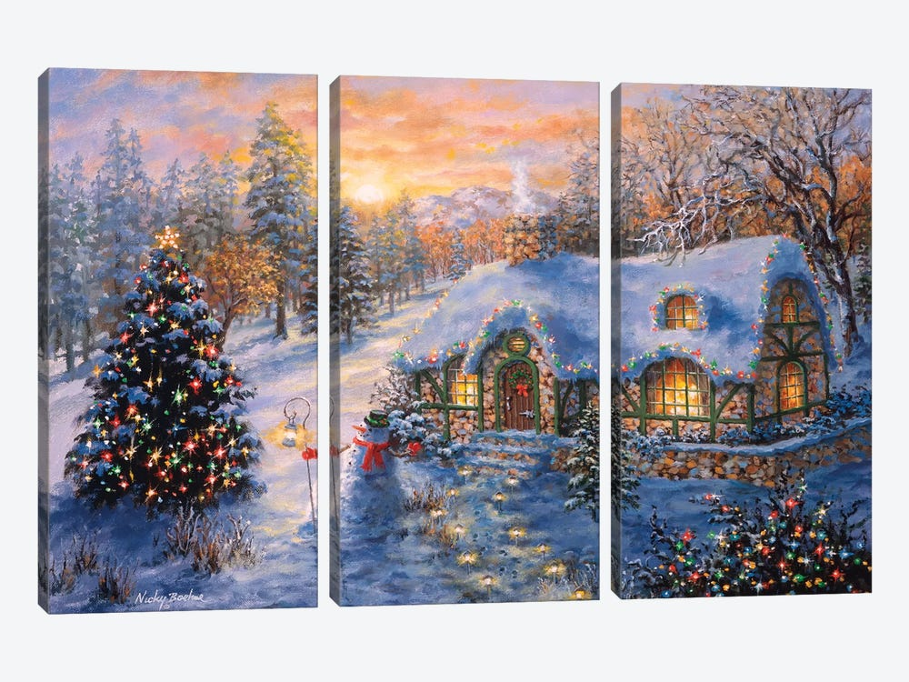 Christmas Cottage I by Nicky Boehme 3-piece Art Print