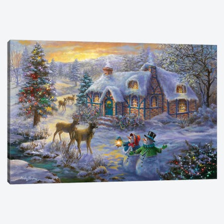 Christmas Cottage II Canvas Print #BOE29} by Nicky Boehme Canvas Wall Art