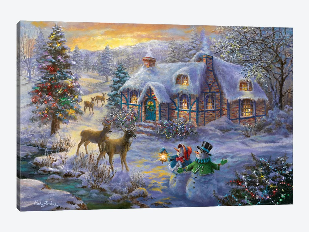 Christmas Cottage II by Nicky Boehme 1-piece Canvas Artwork