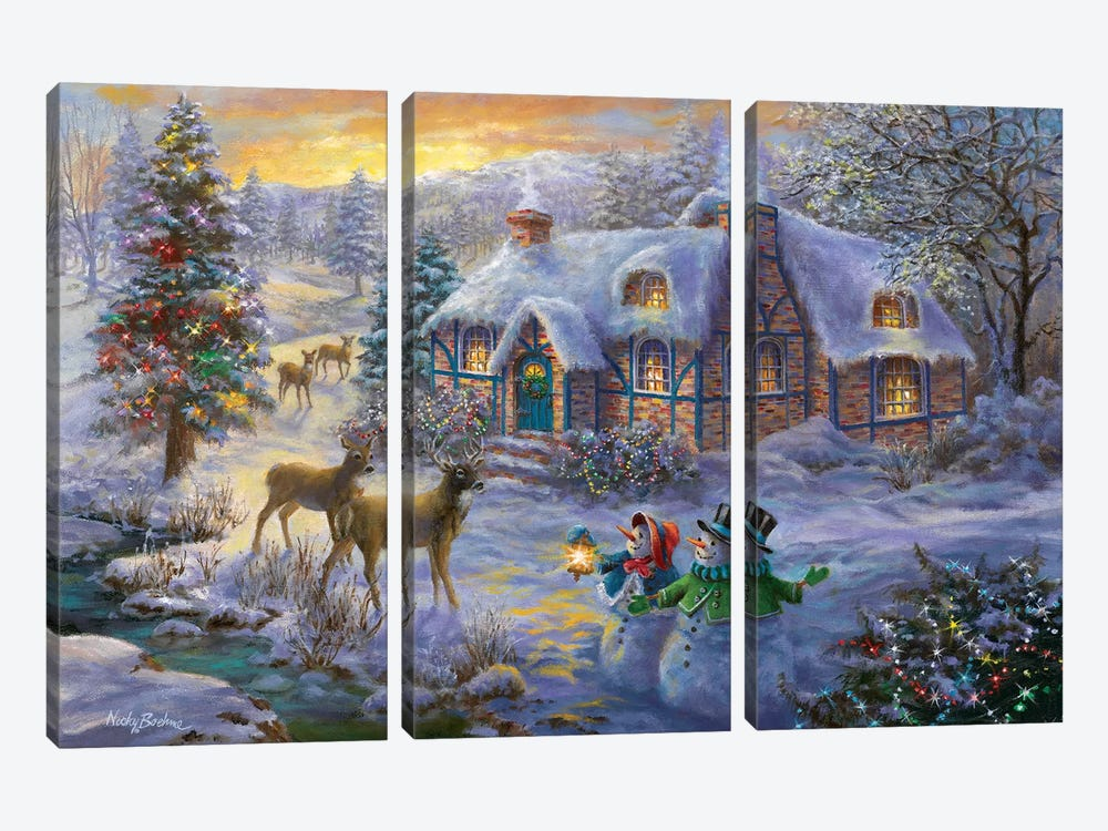 Christmas Cottage II by Nicky Boehme 3-piece Canvas Wall Art