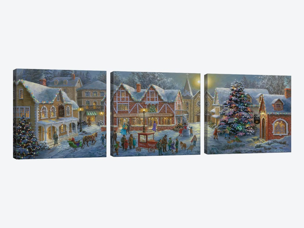 Christmas Village by Nicky Boehme 3-piece Canvas Art Print
