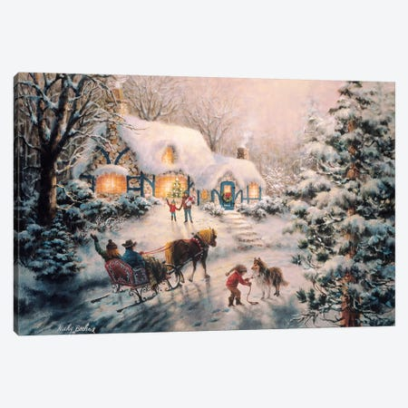Christmas Visit Canvas Print #BOE32} by Nicky Boehme Canvas Print