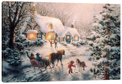 Christmas Visit Canvas Print #BOE32