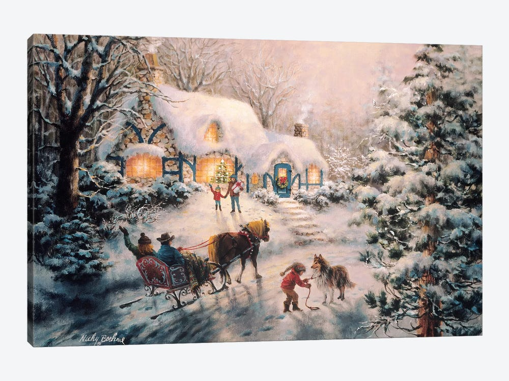 Christmas Visit by Nicky Boehme 1-piece Canvas Wall Art
