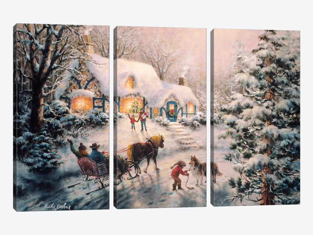 Christmas Visit by Nicky Boehme 3-piece Canvas Artwork