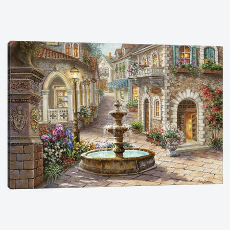 Cobblestone Fountain Canvas Print #BOE33} by Nicky Boehme Canvas Art Print