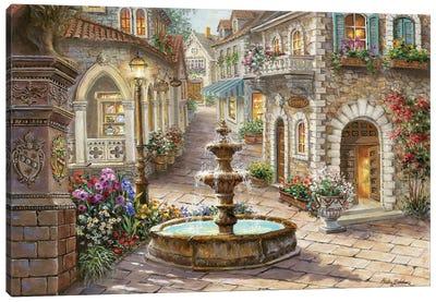Cobblestone Fountain Canvas Art Print