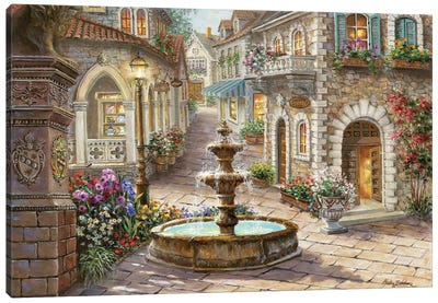 Cobblestone Fountain Canvas Art Print