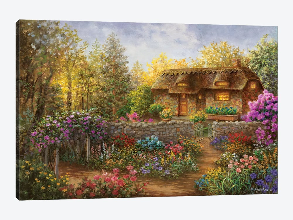 Cottage Garden In Full Bloom 1-piece Canvas Artwork