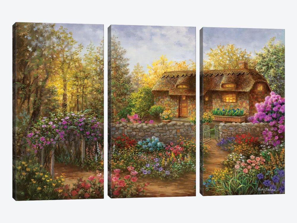 Cottage Garden In Full Bloom 3-piece Canvas Artwork