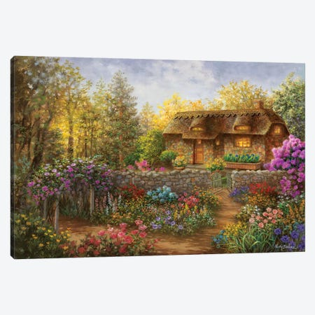 Cottage Garden In Full Bloom 3-Piece Canvas #BOE36} by Nicky Boehme Canvas Artwork