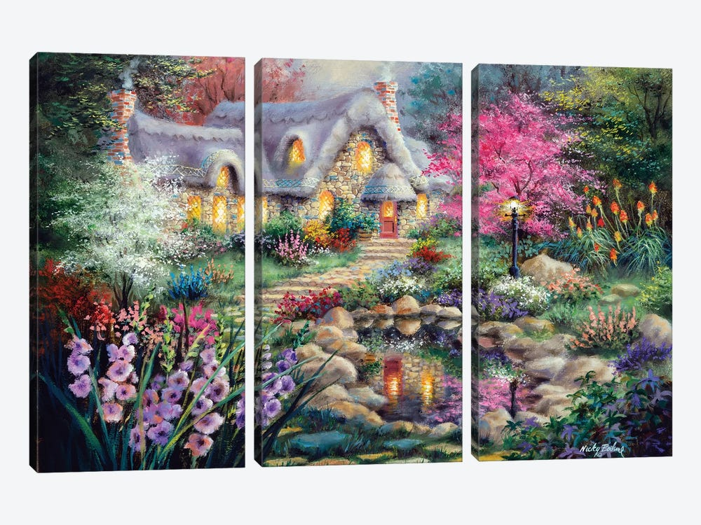 Cottage Pond by Nicky Boehme 3-piece Canvas Art Print