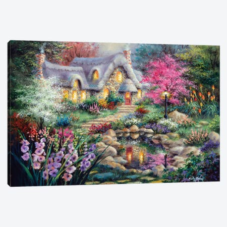 Cottage Pond 3-Piece Canvas #BOE37} by Nicky Boehme Canvas Artwork